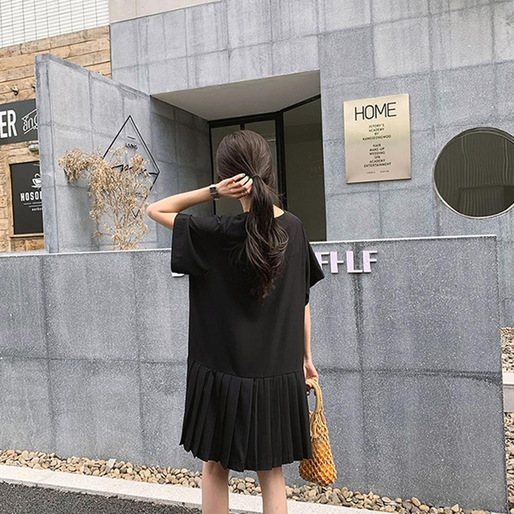 韓國空運 別緻拼接百摺洋裝-2色-TMH