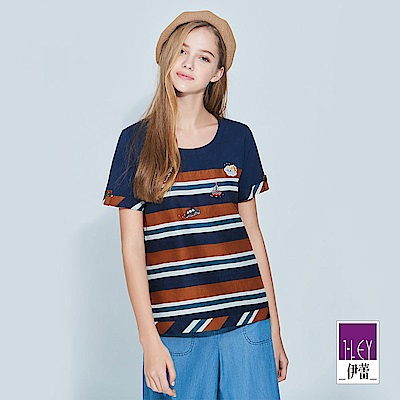 ILEY伊蕾 貼繡裝飾配色條紋純棉上衣(藍)