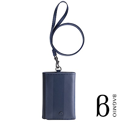 BAGMIO authentic 系列牛皮4卡三折式短夾-午夜藍(附皮背帶)