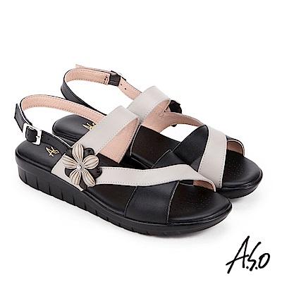A.S.O 希臘渡假 花飾撞色全真皮記憶鞋墊休閒涼鞋 黑