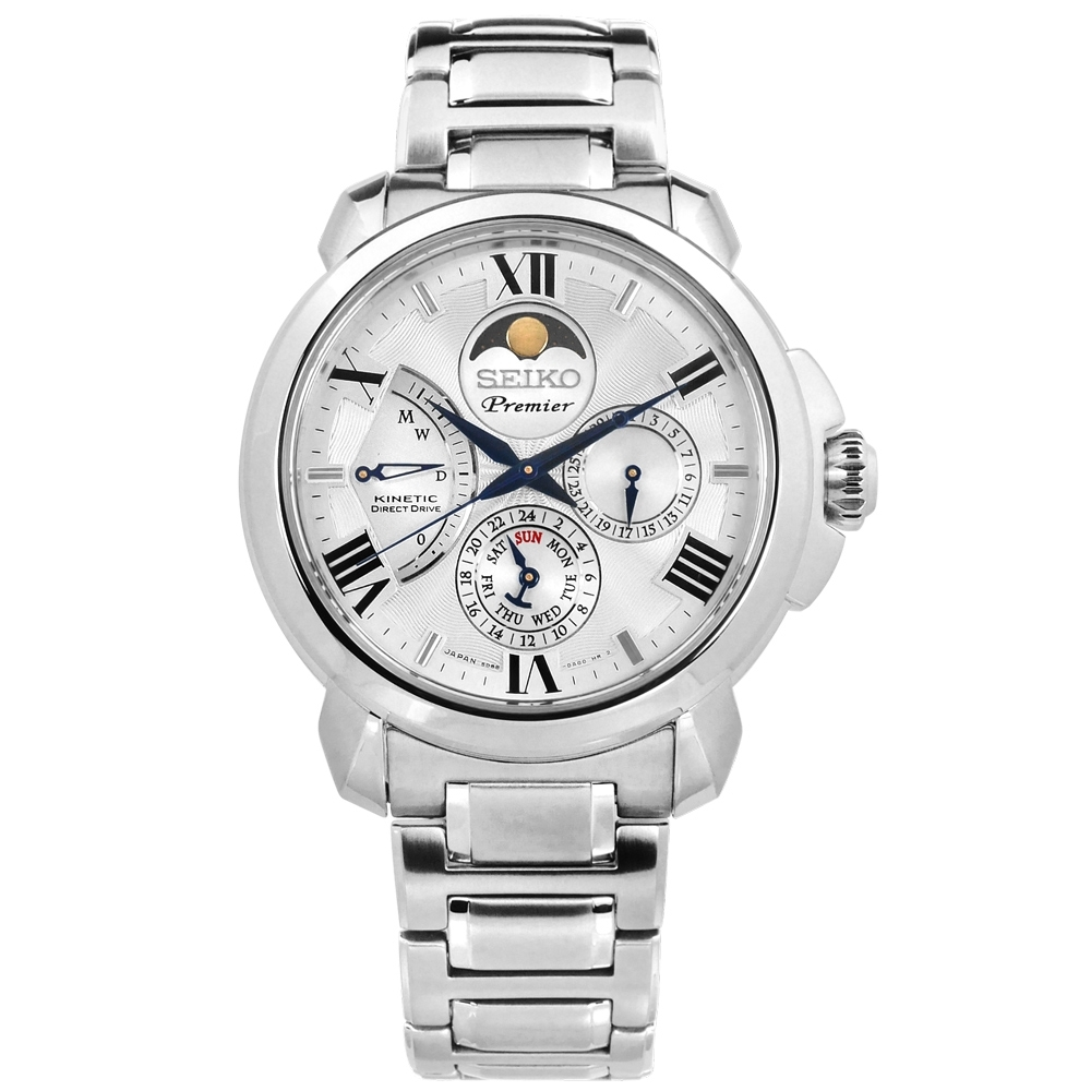 SEIKO 精工 Premier 人動電能 月相錶 不鏽鋼手錶-銀白色/42mm