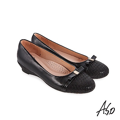 A.S.O 義式簡約 壓紋皮拼接紓壓休閒鞋 黑