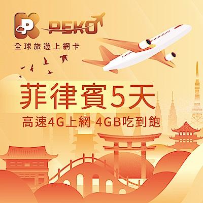 【PEKO】菲律賓上網卡 菲律賓網卡 菲律賓SIM卡 5日高速4G上網 4GB吃到飽 優良品質