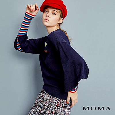 MOMA 假兩件條紋拼接上衣