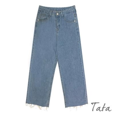 不收邊個性牛仔寬褲 TATA-(M/L)