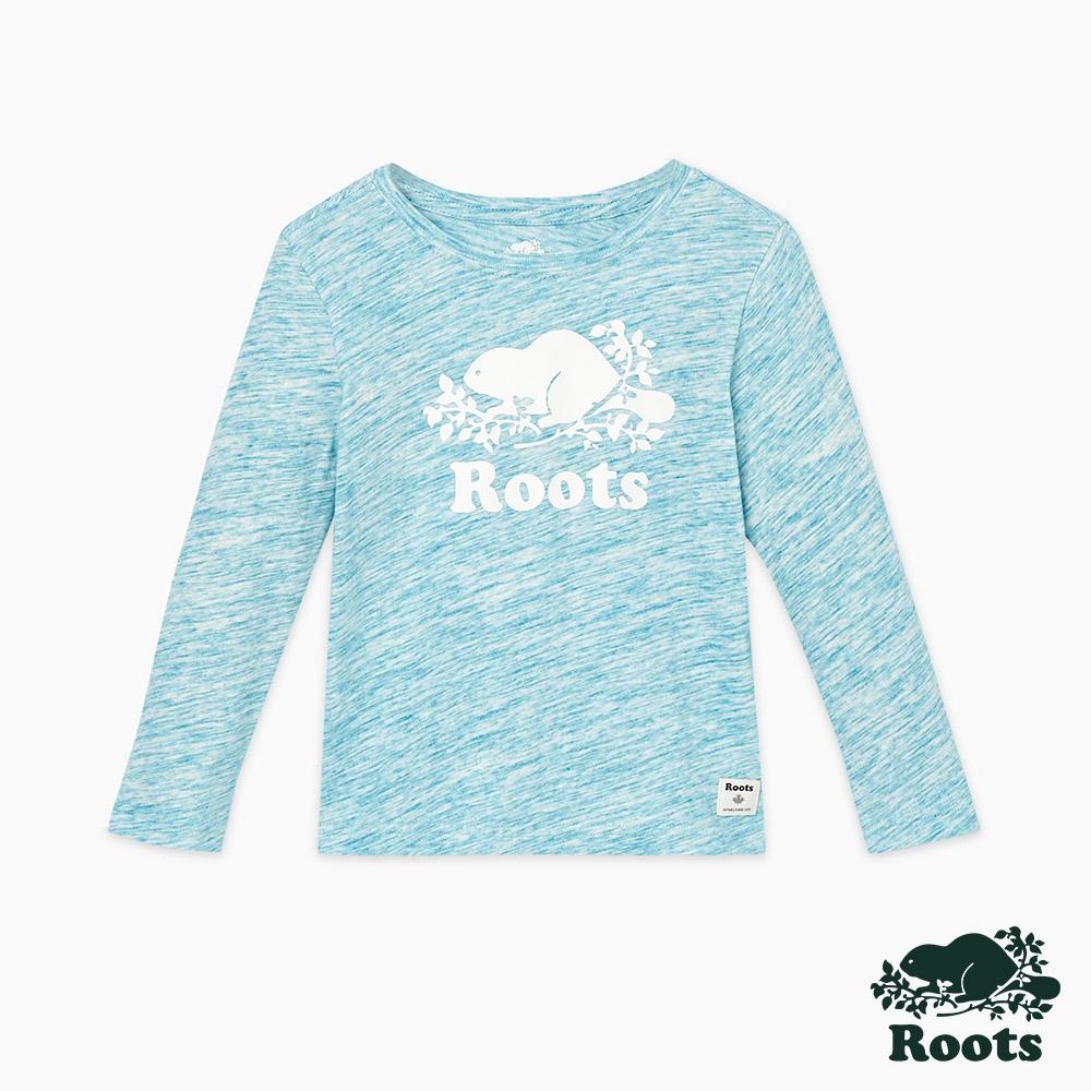 Roots小女童-海狸LOGO長袖上衣-藍色