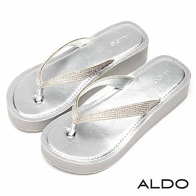 ALDO 原色璀璨排鑽V字夾腳厚底涼拖鞋~前衛銀色