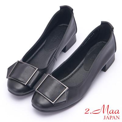2.Maa 簡約方釦牛皮低跟娃娃鞋 - 黑
