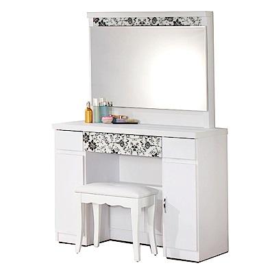 文創集 艾伯莎時尚白3.3尺側推鏡面化妝台/鏡台(含化妝椅)-98x50x152cm免組
