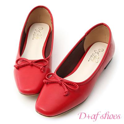 D+AF 法式甜心.小方頭平底芭蕾娃娃鞋*紅