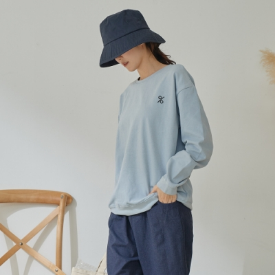 慢 生活 寬版運動風圖案繡線T-shirt- 淺藍