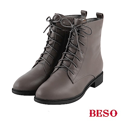 BESO 率性元素 拉鏈綁帶平底短靴~灰