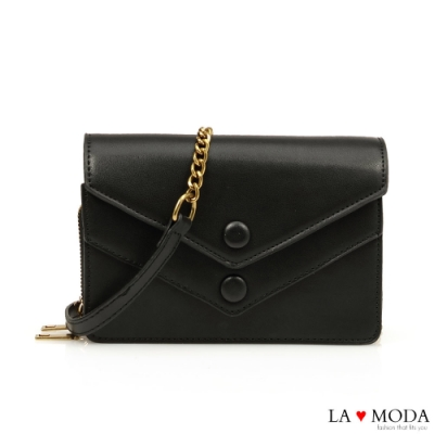 La Moda 網美超推薦信封造型多夾層大容量肩背斜背鏈帶小方包(黑)