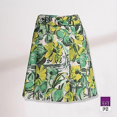ILEY伊蕾 油彩花朵印花打褶裙(綠)