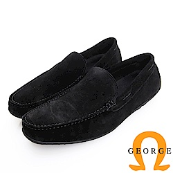 GEORGE 喬治皮鞋 經典系列 經典素面反毛皮樂福鞋-黑