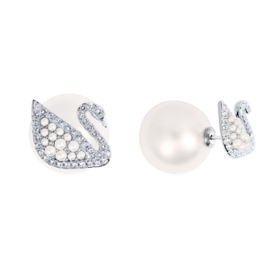 SWAROVSKI 施華洛世奇 璀璨水晶珍珠天鵝造型銀色耳環