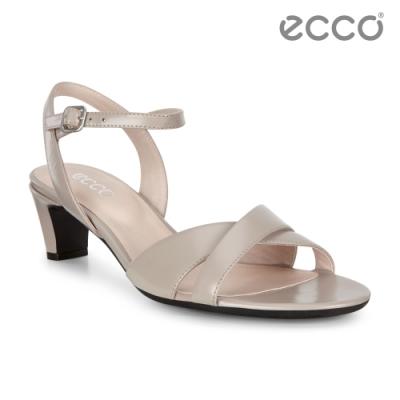 ECCO SHAPE SLEEK SANDAL 45 春夏時尚高跟露趾涼鞋 女鞋-灰粉色