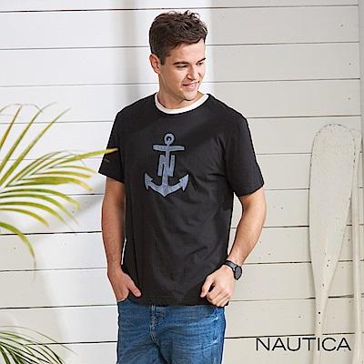 Nautica 牛仔船錨圖騰短袖T恤-黑