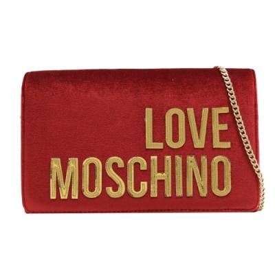 MOSCHINO LOVE系列立體LOGO絨布翻蓋斜背鍊包(紅)