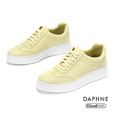 達芙妮DAPHNE 休閒鞋-潮流綁帶雲軟厚底休閒鞋-黃色
