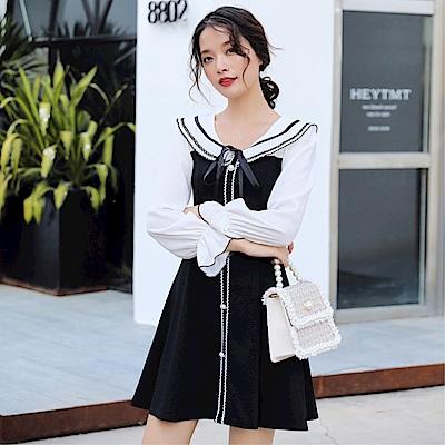 DABI 韓國風時尚修身顯瘦娃娃領雪紡拼接長袖洋裝