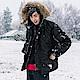 抗寒保暖-蓬鬆毛領科技羽絨棉軍裝連帽外套-OB大尺碼