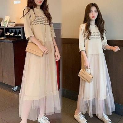 【韓國K.W.】(預購)輕巧美感網紗裙洋裝-2色