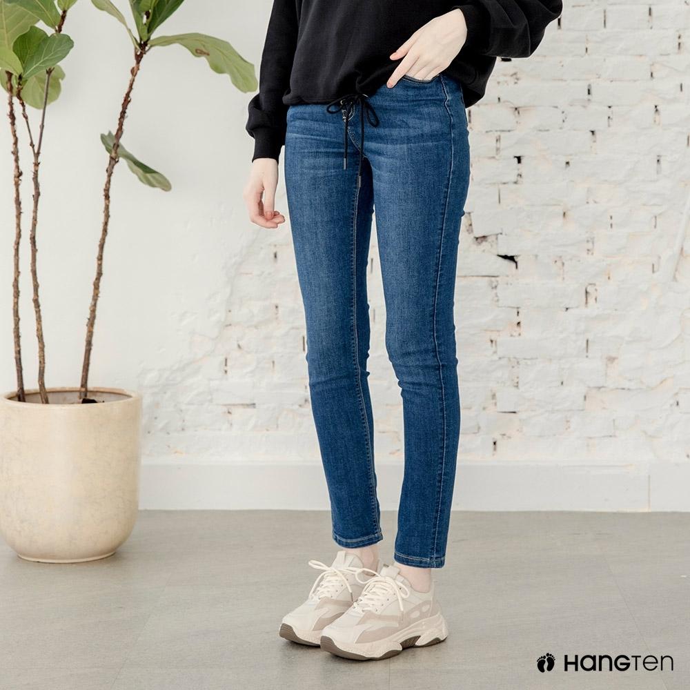 Hang-Ten-女裝-環保再生紗-經典款SLIM FIT修身中腰丹寧褲-深藍