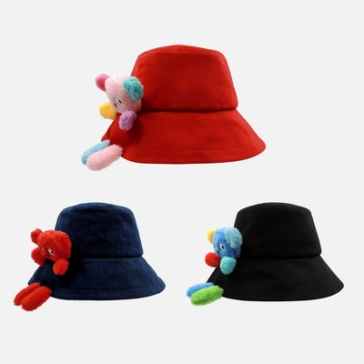 WHY AND 1/2 普普熊玩偶可拆漁夫帽 多色可選