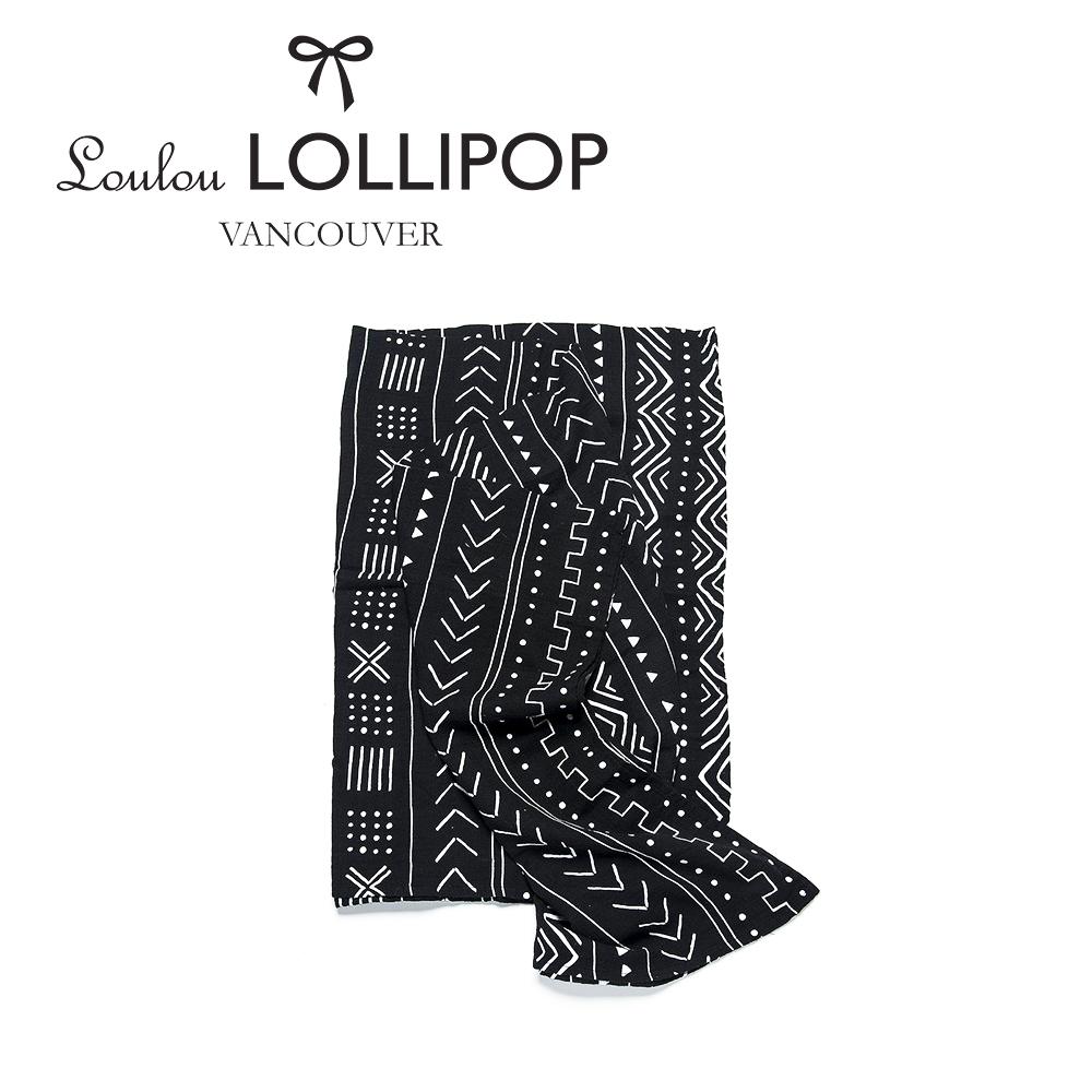 加拿大Loulou lollipop 竹纖維透氣包巾120x120cm-黑色簡約風