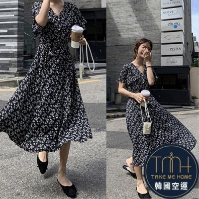韓國空運 小碎花傘擺連身裙-3色-TMH