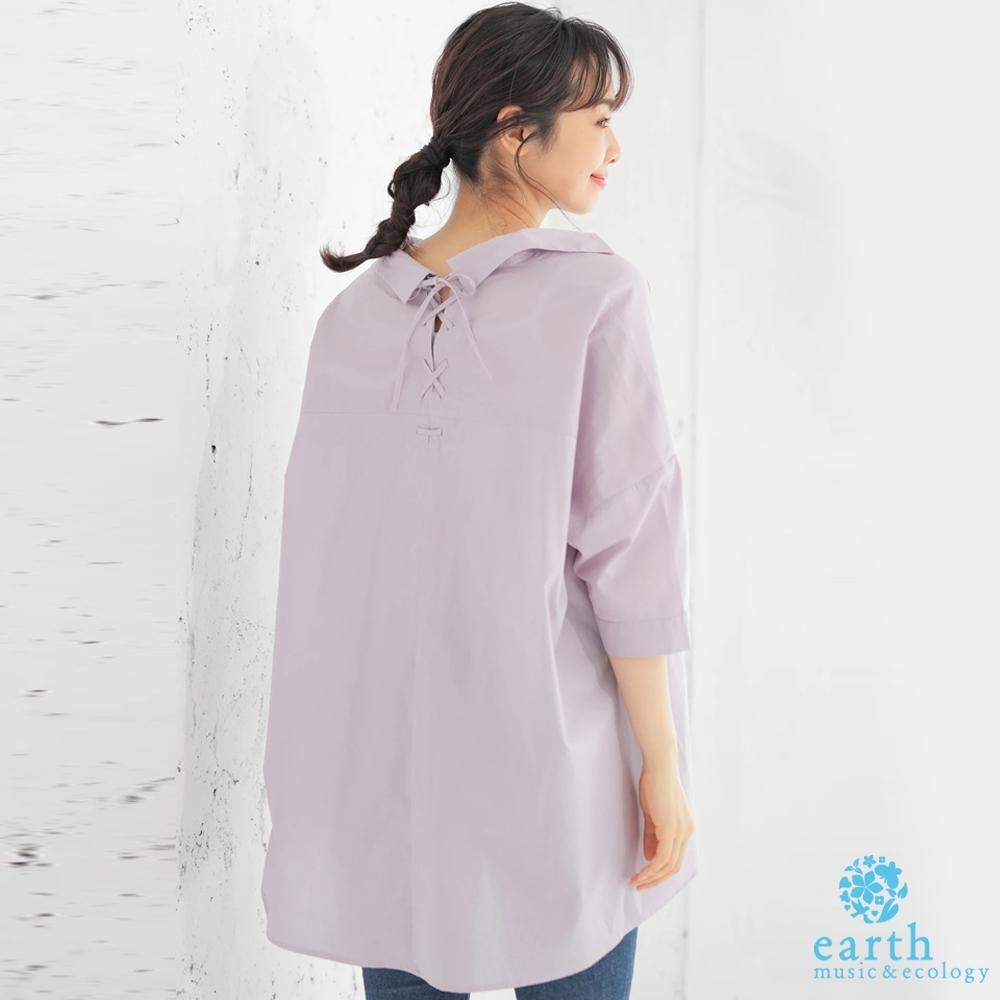 earth music 後綁帶設計寬版襯衫領上衣
