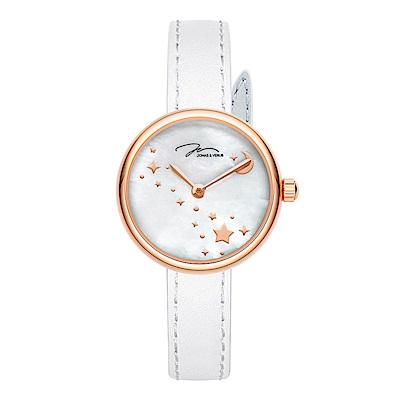 J&V-尋光系列 星空錶-珍珠母貝面盤/白色皮帶-(L25.10.PWLW)-25mm