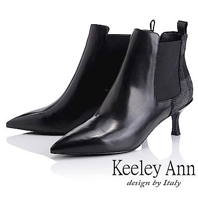 Keeley Ann 復古風潮~格紋拼接皮革尖頭貓跟短靴(黑色-Ann系列)