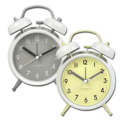 4吋 居家擺飾 復古雙鈴 超大鈴聲 辦公桌床頭 桌上型 鬧鐘 時鐘 - 黃綠/灰