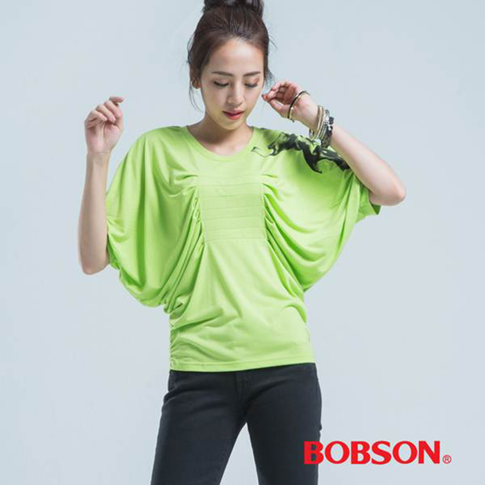 BOBSON 女款橫車褶短袖上衣(綠40)