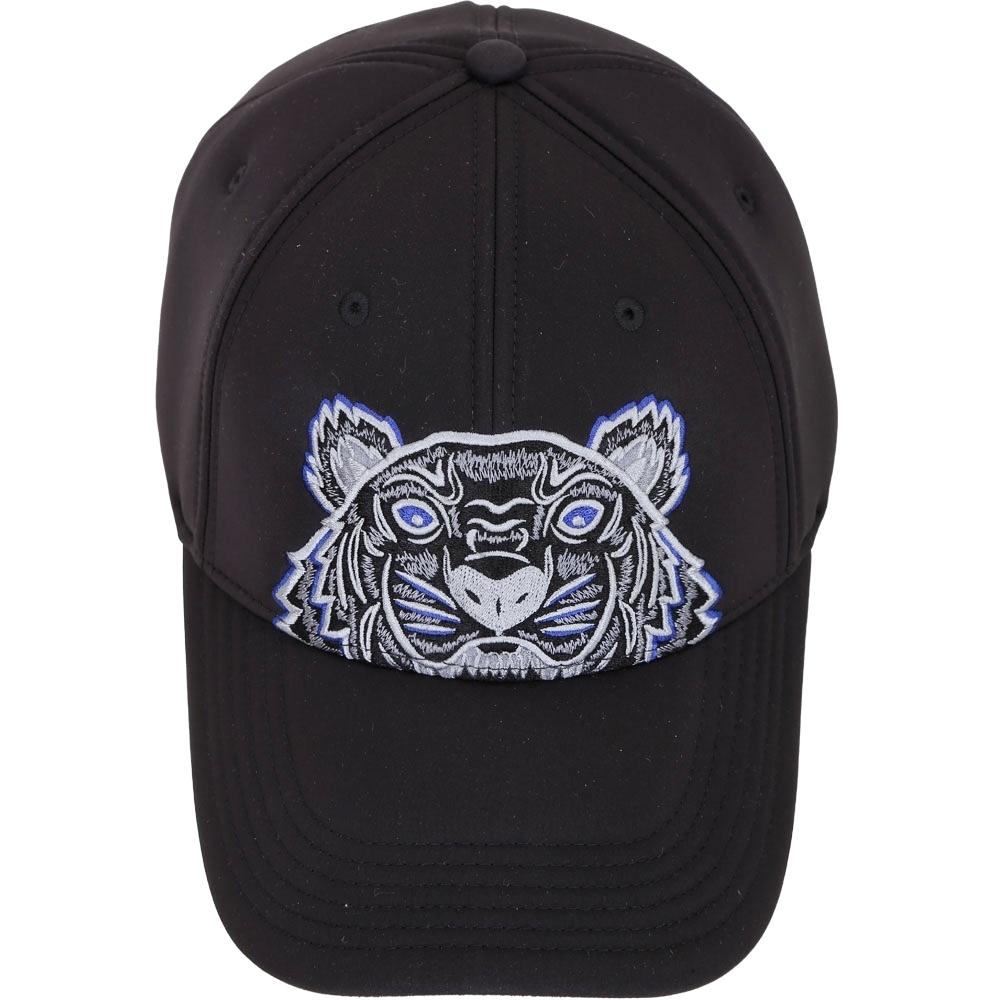 KENZO Tiger Neoprene 經典虎頭刺繡圖騰太空棉質棒球帽(黑色)