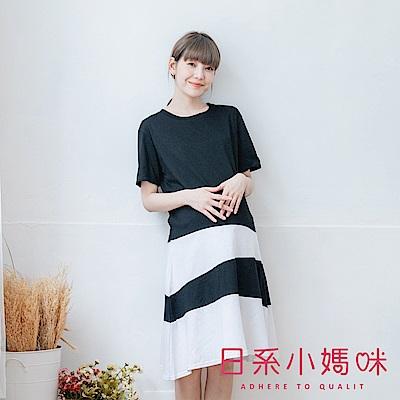 日系小媽咪孕婦裝-優雅質感配色層次感裙襬洋裝 (共二色)