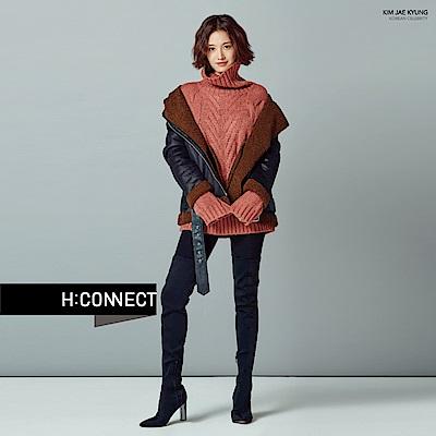 H:CONNECT 韓國品牌 女裝-翻領麻花針織毛衣-粉