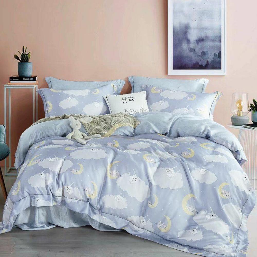 LAMINA 雲朵-藍 加大 100%萊賽爾天絲枕套床包組