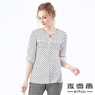 【麥雪爾】純棉幾何拼接變化上衣