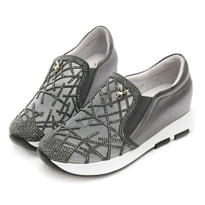 PLAYBOY 奢華晶鑽內增高休閒鞋-灰-Y529922