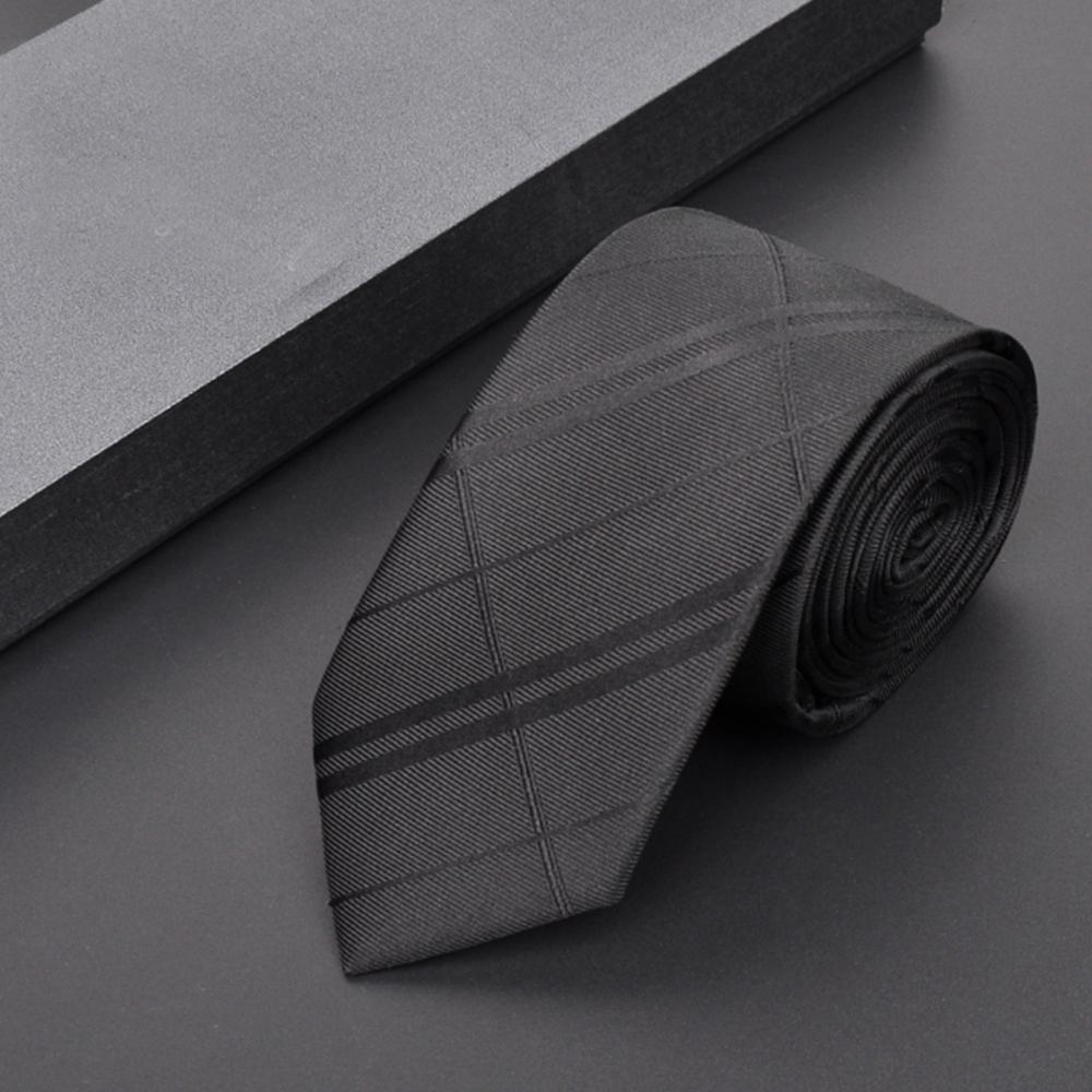 拉福   亂波交叉紋窄版拉鍊領帶 (黑色)