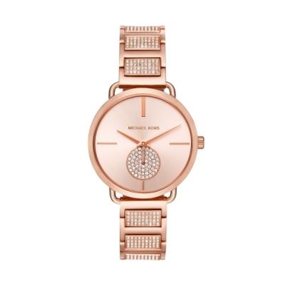 MICHAEL KORS美式優雅小秒針晶鑽腕錶MK3853