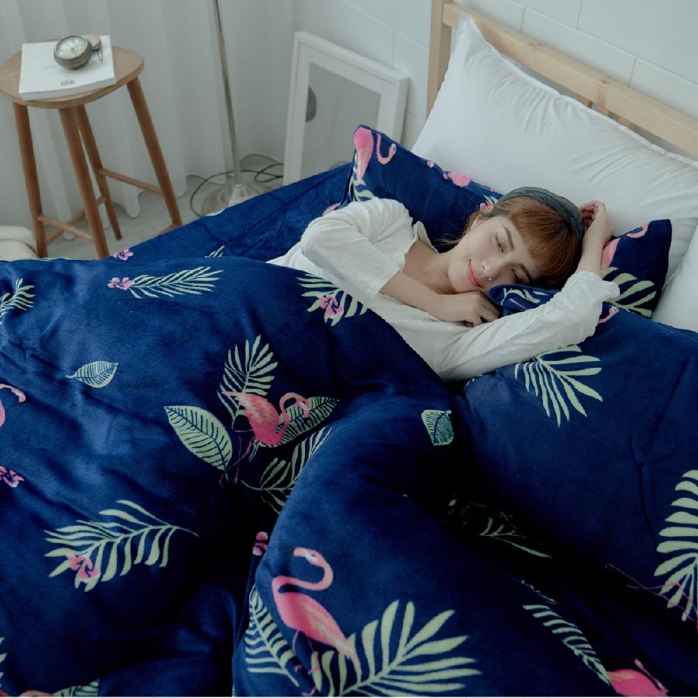 BUHO 極柔暖法蘭絨(6x7尺)標準雙人兩用被套毯(暮光秘藍)