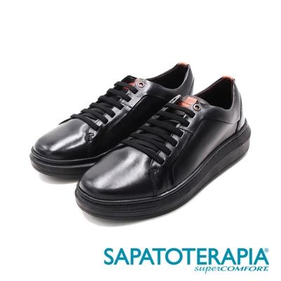 SAPATOTERAPIA(男)圓頭真皮車縫休閒鞋 男鞋-黑(另有白)