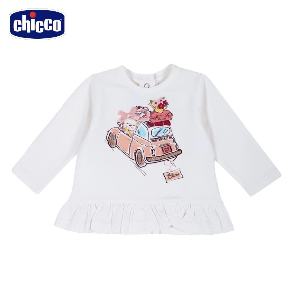 chicco-花園之旅-荷葉下擺長袖上衣-白
