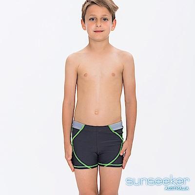 澳洲Sunseeker抗UV防曬大男童三分四角泳褲-深灰