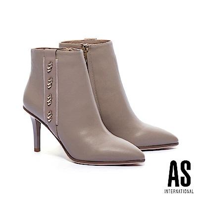 短靴 AS 奢華率性羊皮美型尖頭高跟短靴-米