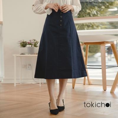 東京著衣 自然氛圍小排釦高腰A字中長裙-S.M.L